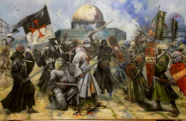 Jerusalem-2014-allegorical-oil-painting-of-Templars-Saracens-by-Jason-Askey-South-African